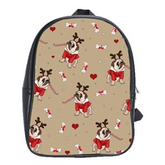 Pug Xmas Pattern School Bag (xl) by Valentinaart