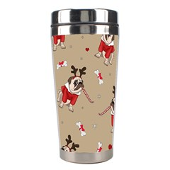 Pug Xmas Pattern Stainless Steel Travel Tumblers by Valentinaart