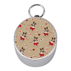 Pug Xmas Pattern Mini Silver Compasses by Valentinaart