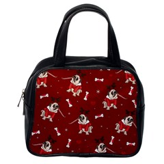Pug Xmas Pattern Classic Handbags (one Side) by Valentinaart