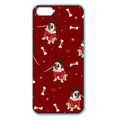Pug Xmas Pattern Apple Seamless Iphone 5 Case (color) by Valentinaart