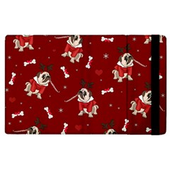 Pug Xmas Pattern Apple Ipad 2 Flip Case by Valentinaart