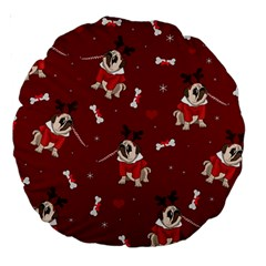 Pug Xmas Pattern Large 18  Premium Round Cushions by Valentinaart
