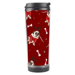 Pug Xmas Pattern Travel Tumbler by Valentinaart