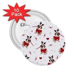 Pug Xmas Pattern 2 25  Buttons (10 Pack)  by Valentinaart