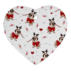 Pug Xmas Pattern Heart Ornament (two Sides) by Valentinaart