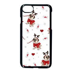 Pug Xmas Pattern Apple Iphone 7 Seamless Case (black) by Valentinaart