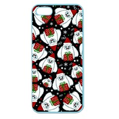 Yeti Xmas Pattern Apple Seamless Iphone 5 Case (color) by Valentinaart