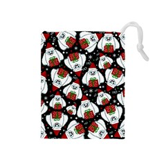 Yeti Xmas Pattern Drawstring Pouches (medium)  by Valentinaart