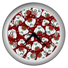 Yeti Xmas Pattern Wall Clocks (silver)  by Valentinaart