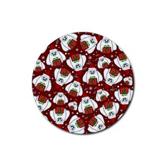 Yeti Xmas Pattern Rubber Round Coaster (4 Pack)  by Valentinaart