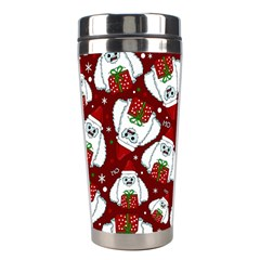 Yeti Xmas Pattern Stainless Steel Travel Tumblers by Valentinaart