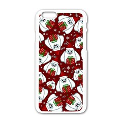 Yeti Xmas Pattern Apple Iphone 6/6s White Enamel Case by Valentinaart
