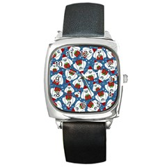 Yeti Xmas Pattern Square Metal Watch by Valentinaart