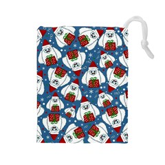 Yeti Xmas Pattern Drawstring Pouches (large)