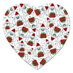 Yeti Xmas Pattern Jigsaw Puzzle (heart) by Valentinaart