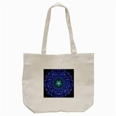 Accordant Electric Blue Fractal Flower Mandala Tote Bag (cream) by jayaprime