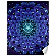 Accordant Electric Blue Fractal Flower Mandala Canvas 18  X 24   by jayaprime