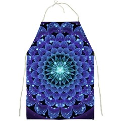 Accordant Electric Blue Fractal Flower Mandala Full Print Aprons by jayaprime