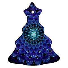 Accordant Electric Blue Fractal Flower Mandala Christmas Tree Ornament (two Sides) by jayaprime