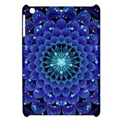 Accordant Electric Blue Fractal Flower Mandala Apple Ipad Mini Hardshell Case by jayaprime