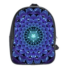 Accordant Electric Blue Fractal Flower Mandala School Bag (xl) by jayaprime