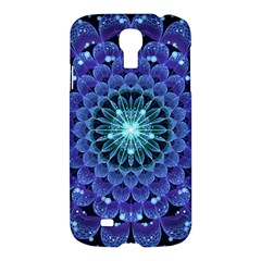Accordant Electric Blue Fractal Flower Mandala Samsung Galaxy S4 I9500/i9505 Hardshell Case by jayaprime