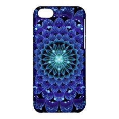 Accordant Electric Blue Fractal Flower Mandala Apple Iphone 5c Hardshell Case by jayaprime