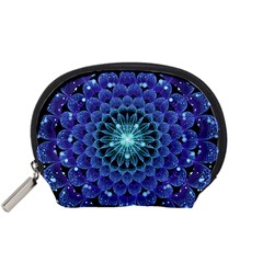 Accordant Electric Blue Fractal Flower Mandala Accessory Pouches (small)  by jayaprime