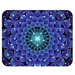 Accordant Electric Blue Fractal Flower Mandala Double Sided Flano Blanket (medium)  by jayaprime