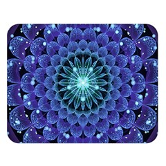 Accordant Electric Blue Fractal Flower Mandala Double Sided Flano Blanket (large)  by jayaprime