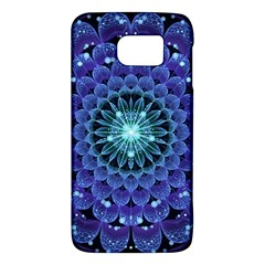 Accordant Electric Blue Fractal Flower Mandala Galaxy S6 by jayaprime