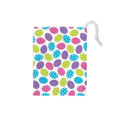Polka Dot Easter Eggs Drawstring Pouches (small)  by allthingseveryone