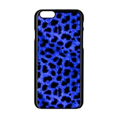 Blue Cheetah Print  Apple Iphone 6/6s Black Enamel Case by allthingseveryone