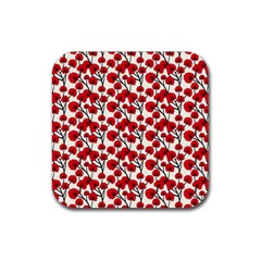 Red Flowers Rubber Coaster (square)  by allthingseveryone
