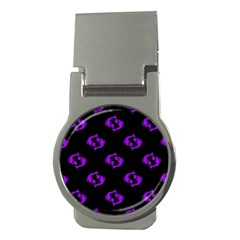 Purple Pisces On Black Background Money Clips (round)  by allthingseveryone