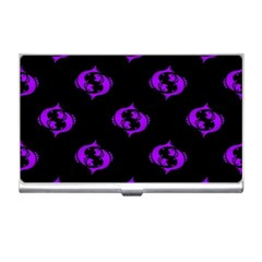 Purple Pisces On Black Background Business Card Holders by allthingseveryone
