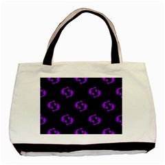 Purple Pisces On Black Background Basic Tote Bag by allthingseveryone