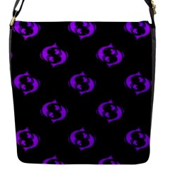 Purple Pisces On Black Background Flap Messenger Bag (s) by allthingseveryone