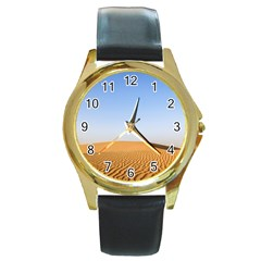 Desert Dunes With Blue Sky Round Gold Metal Watch by Ucco