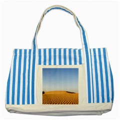 Desert Dunes With Blue Sky Striped Blue Tote Bag by Ucco