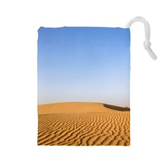 Desert Dunes With Blue Sky Drawstring Pouches (large)  by Ucco