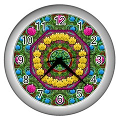 Bohemian Chic In Fantasy Style Wall Clocks (silver)  by pepitasart
