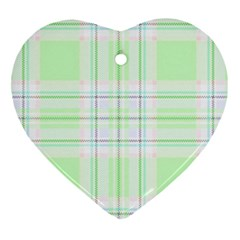 Green Pastel Plaid Heart Ornament (two Sides) by allthingseveryone