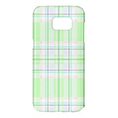Green Pastel Plaid Samsung Galaxy S7 Edge Hardshell Case