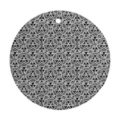 Hand Drawing Tribal Black White Ornament (round) by Cveti