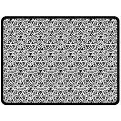 Hand Drawing Tribal Black White Double Sided Fleece Blanket (large)  by Cveti