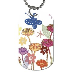 Flowers Butterflies Dragonflies Dog Tag (one Side)