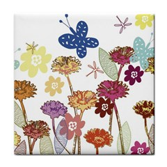 Flowers Butterflies Dragonflies Face Towel