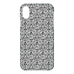 Hand Drawing Tribal Black White Apple Iphone X Hardshell Case by Cveti
